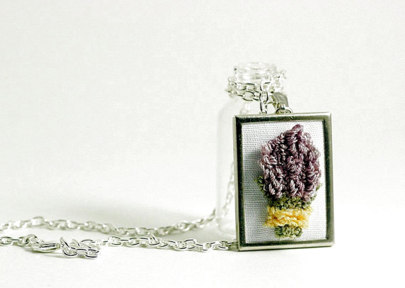 Lavender silver necklace.