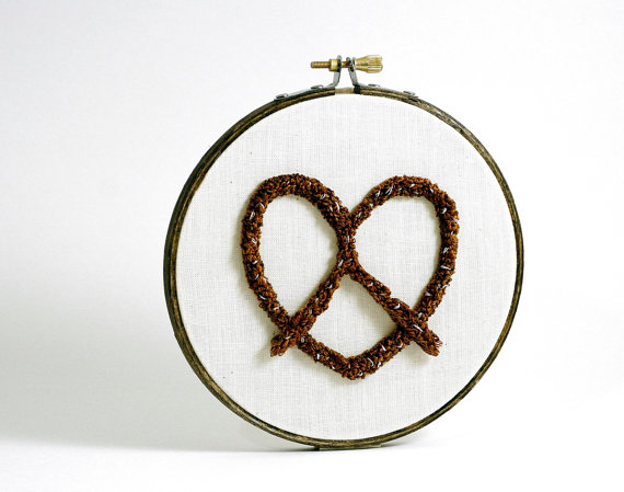Pretzel Love Embroidery Hoop Wall Art Hanging.