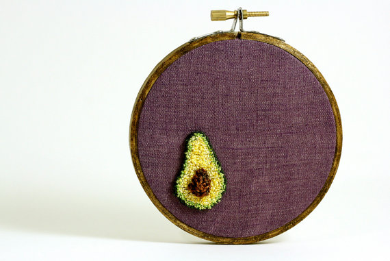 Valentine's Day Avocado Love Embrodiery Hoop Wall Art
