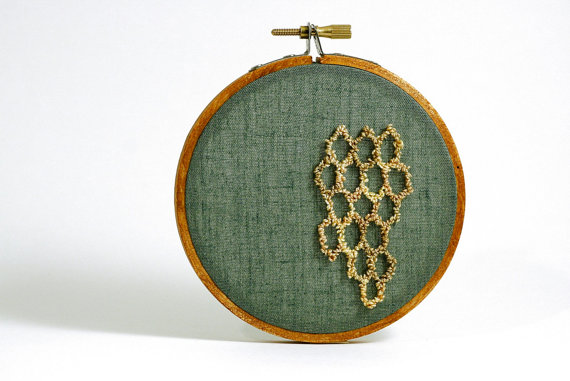 Honeycomb Hexagon Embroidery Hoop Wall Art